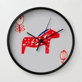 Dala Horse gray Wall Clock