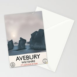 Avebury, Wiltshire Stone circle Train travel poster Stationery Cards