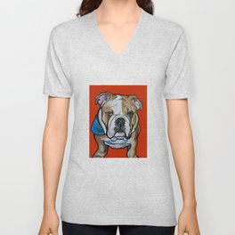 Johnny the English Bulldog Unisex V-Neck
