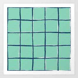 Aqua blue plaid, pool tiles pattern, tartan Art Print