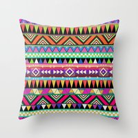 power Throw Pillows featuring OVERDOSE by Bianca Green