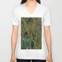 camouflage V-neck T-shirts featuring Camouflage by Miquel Kendrick Collage