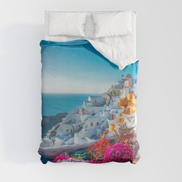 Santorini Greece Pink Flowers Path in Oia Wall Art Prints  Duvet Cover