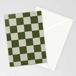 checkerboard hand-painted-olive Stationery Cards