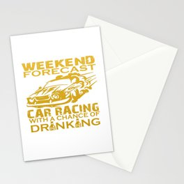 WEEKEND FORECAST CAR RACING Stationery Cards