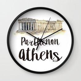 Parthenon watercolor Wall Clock