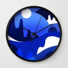 Terrazzo landscape blue night Wall Clock