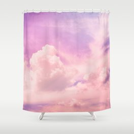 Pink And Purple Fluffy Colorful Clouds Cotton Candy Texture Shower Curtain