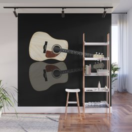Pale Acoustic Guitar Reflection Wall Mural
