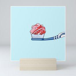 Cupcake Toothpaste on Toothbrush Mini Art Print
