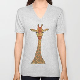 Orange and Gold Illustrated Giraffe Unisex V-Neck