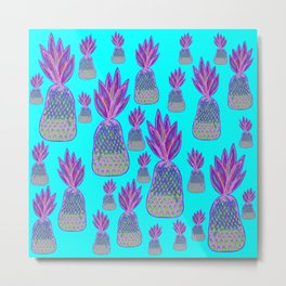 Aqua Pineapple Parade - Neon Pink and Green Pineapples Metal Print