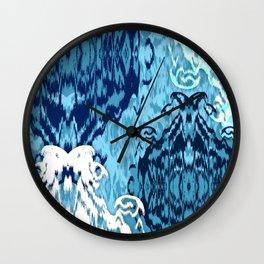 Ikat Medallions: Blue Wall Clock