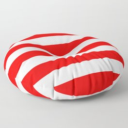 Stripe Red and White Lines Floor Pillow