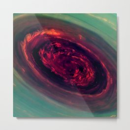Vortex - Red Rose Storm on Planet Saturn Deep Space Fly By Photograph Metal Print