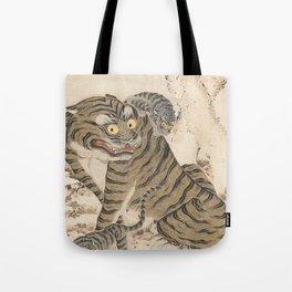 Tiger Family, Korean Art, 1800s Tote Bag