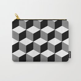 Cube Pattern Black White Grey Carry-All Pouch