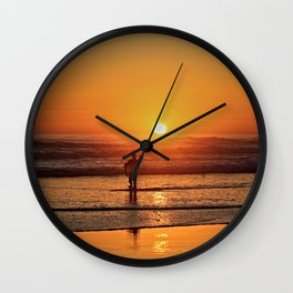 Scenic Sunset Sea Seascape Beach Shore Surf Surfer Wall Clock