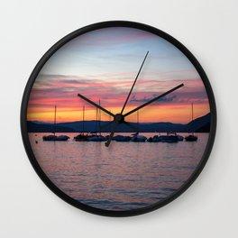 Sunset Lake Annecy Wall Clock