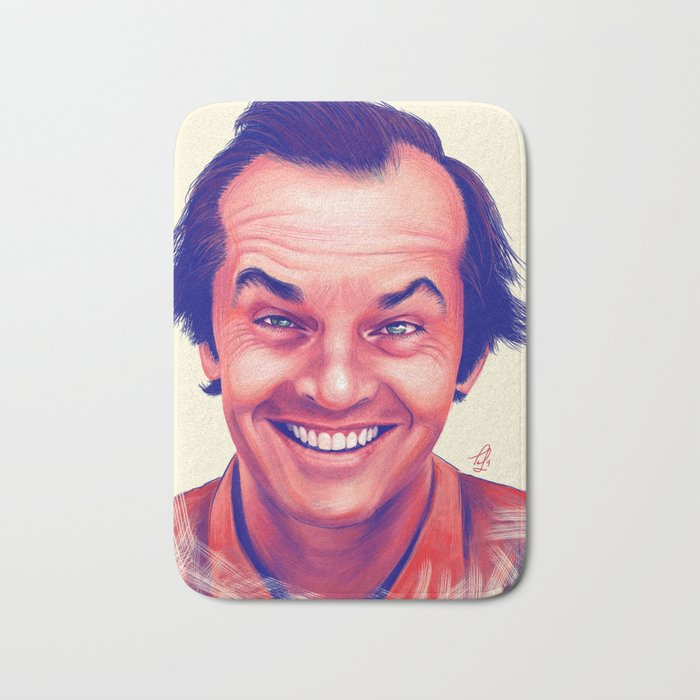 Young Jack Nicholson and the evil smile - digital painting Bath Mat