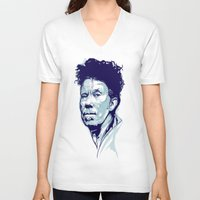 tom waits V-neck T-shirts featuring Tom Waits Portrait by Brian Yap