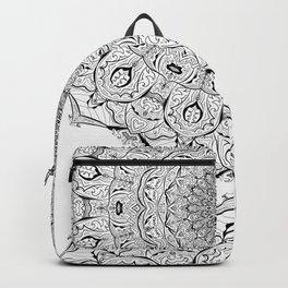 Lacy Flames Mandala in Black and White Backpack