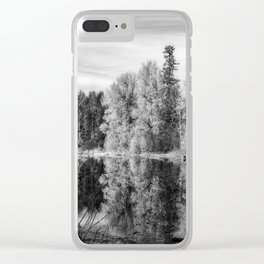 Autumn Makes an Appearance at Fish Lake bw Clear iPhone Case