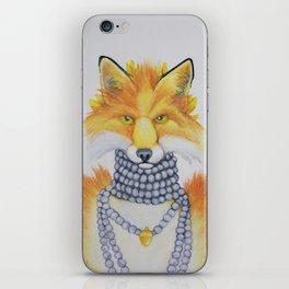Fox Fur and Pearls iPhone Skin
