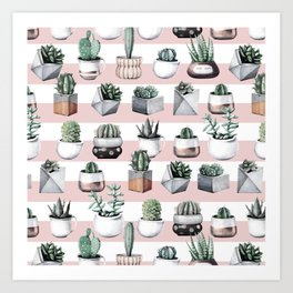 Potted Cactus Stripes Pink Rose Gold Art Print