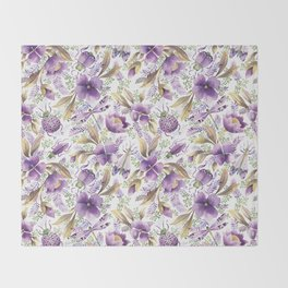violet garden floral pattern Throw Blanket