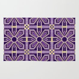 Art Deco Flowers in Violet Purple with Faux Gold Rug