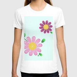 Pink flowers make me happy T-shirt