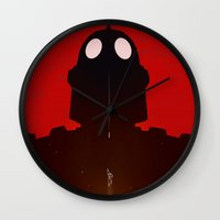 iron giant Wall Clocks featuring Iron Red by Duke Dastardly
