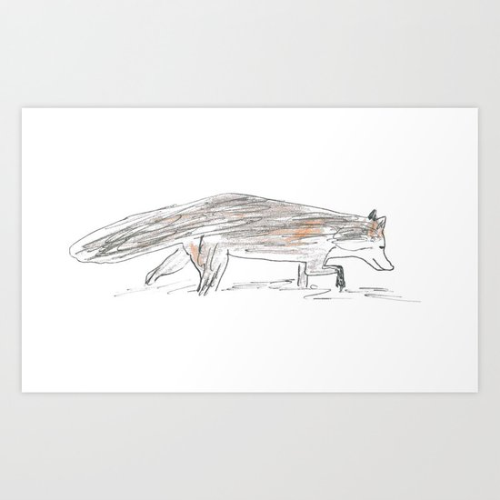 Winter fox in the snow Art Print