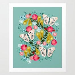 Buckeye Butterly Florals by Andrea Lauren  Art Print