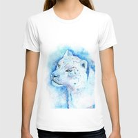snow leopard T-shirts featuring Snow Leopard by Georgia Roberts