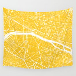 Paris, France, City Map - Yellow Wall Tapestry
