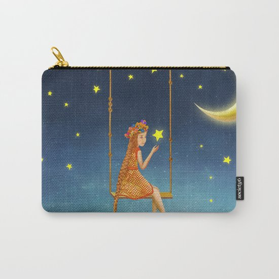 The lovely girl shakes on a swing , illustration art Carry-All Pouch