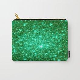 Emerald Green Glitter Stars Carry-All Pouch