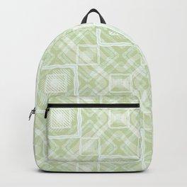 White, light green geometric pattern. Backpack