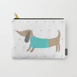 Cute hand drawn dog in dotted background Carry-All Pouch