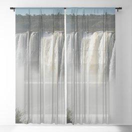 Iguazu Iguassu Waterfall Landscape Panorama Scenery Mist, Brazil Argentina Sheer Curtain