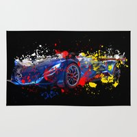 psychadelic Area & Throw Rugs featuring sport car by mark ashkenazi