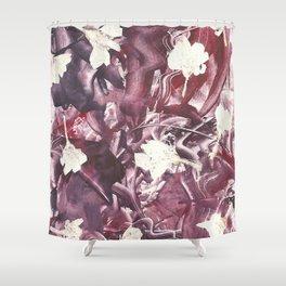 Purple Blooms Monoprint Shower Curtain