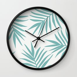 Delicate Green Tropical Leaves Pattern Wall Clock
