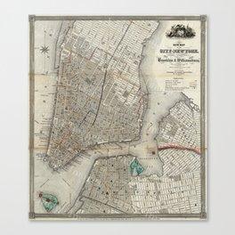 Brooklyn New York City Vintage Map Canvas Print