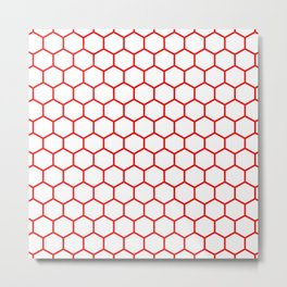 Honeycomb (Red & White Pattern) Metal Print