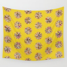 Sunset Poms on Yellow Field Wall Tapestry