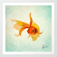 goldfish Art Prints featuring Goldfish by Richard Eijkenbroek