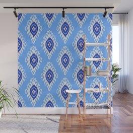 IKAT pattern 02, blue Wall Mural